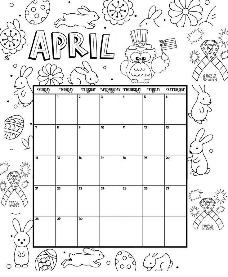 April Printable Coloring Calendar 2019 | ปฏิทิน