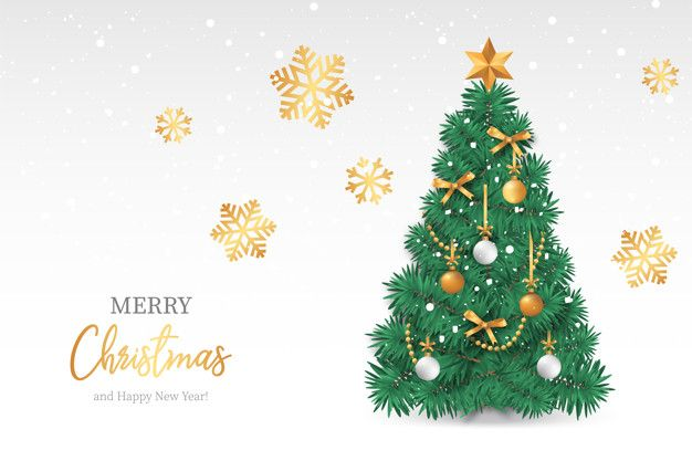 Download Realistic Christmas Tree With Snowy Background For Free