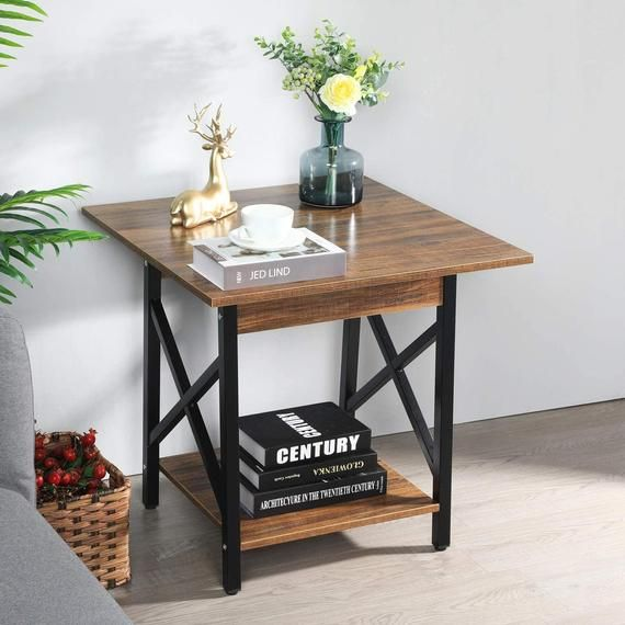 Side Table With Storage Shelf For Living Room Easy Assembly In 2020 Side Table With Storage End Tables Small Side Table