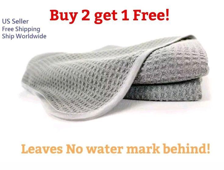 16X24 Waffle Weave Grey Microfiber Home Kitchen Bathroom Drying Towel Cloth