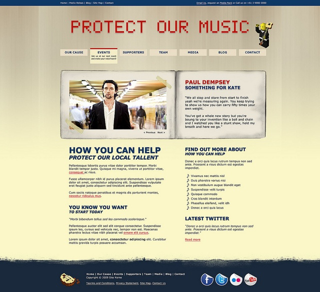 A website layout I developed for my Electronic Imaging And Design class.    I had to pick a theme - Live music and the current political issue of classifying music venues as high risk. The theme and site was inspired by SLAM.org.au.     DiscoverHow thousands of client have picked WordPress  http://hbb6.com/WebSiteDesign