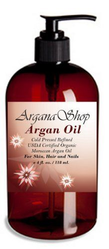 100% Pure Argan Oil Refined Cold Pressed USDA Certified Organic, 4 fl.oz by ArganaShop, LLC. Save 5 Off!. $18.95. 100% Argan Oil Refind Cold Pressed, unscented, fast absorbing, non-greasy, odorless USDA certified organic. Argan oil is easily absorbable by the skin.. Argan Oil packed in plastic amber bottle with pump.. 100% Pure cold pressed refined Argan Oil. As a cosmetic ingredient, Argan oil is best for skin and hair care. Keeping the skin well nourished highly important, as othe...