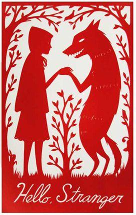 Hello, stranger by Nora AoyagiLittle Red, Block Prints, Nora Aoyagi, Art, Redridinghood, Red Riding Hoods, Stranger Danger, Hello Stranger, Fairies Tales