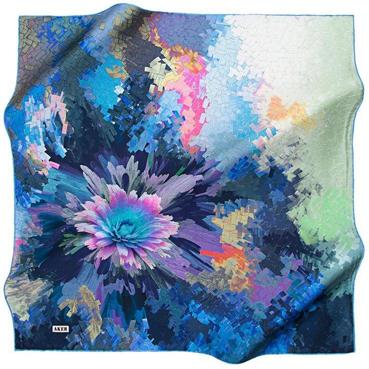 Aker Beautiful Flower Mosaic - Oceanus at www.hijabplanet.com - free shipping worldwide  #scarf #fashioninspiration #shopping #fashion #luxuryaccessories #fashionstylist #fashiontrends #premiumhijab #silkscarves #WorldHijabDay