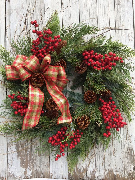 CA$157.35 ($152 without bow) Large Christmas Wreath Christmas Berry Wreath by marigoldsdesigns