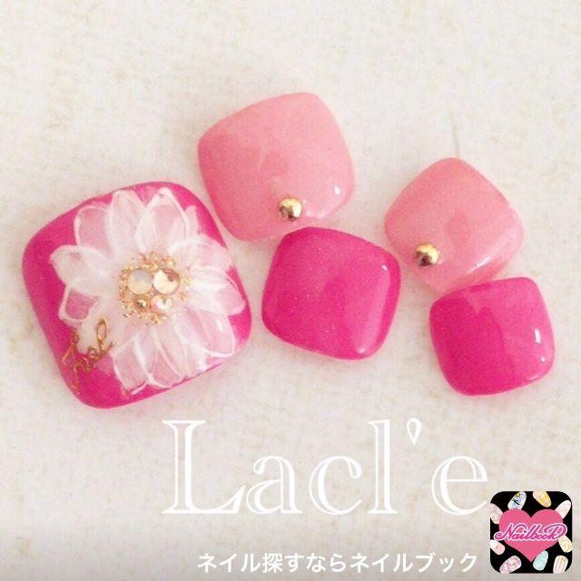 ネイル 画像 Lacl'e 博多 1485784 ピンク パステル ビビット ワンカラー フラワー オールシーズン 春 夏 デート ソフトジェル フット #Japanesenails #nails #cute