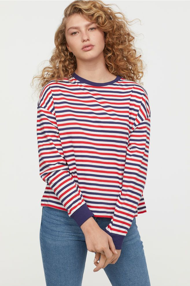 606cda511107 Striped jersey top - Red Striped - Ladies