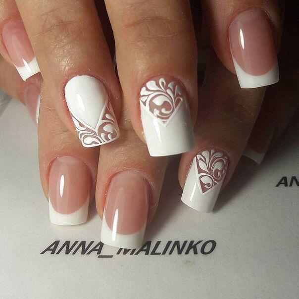 свадебный маникюр, белый френч