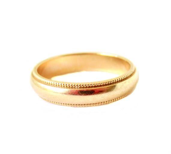 Vintage 14k Gold Milgrain Wedding Band Size 5 3 4 Milgrain Wedding Bands 14k Gold Wedding Band Wedding Bands
