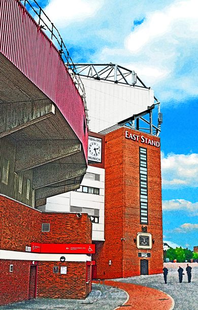 East Stand, Old Trafford, Manchester; home of Manchester United FC (including the Munich Clock)