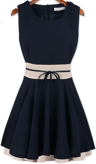 Navy Sleeveless Ruffle Belt Chiffon Dress