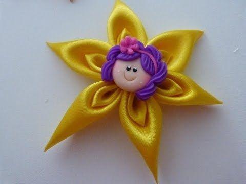 flores en punta para el cabello paso a paso DIY:tutorial hair flower. Manualidades la Hormiga - YouTube