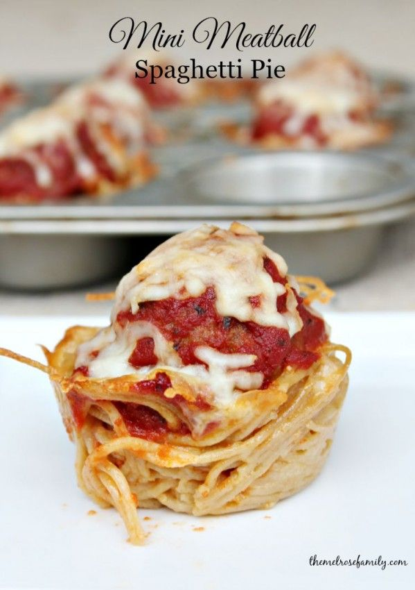 Mini Meatball Spaghetti Pie are the perfect fun dinner idea or perfect game day appetizer.