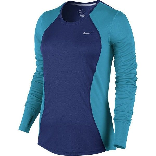 Nike Racer Dri-FIT Running Top - Women's (325 SEK) ❤ liked on Polyvore featuring activewear, activewear tops, deep royal blue, long sleeve pullover, nike pullover, nike, tail activewear and crew neck pullover