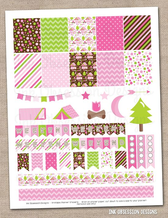 Camping Pink Printable Planner Stickers Set Instant Download PDF