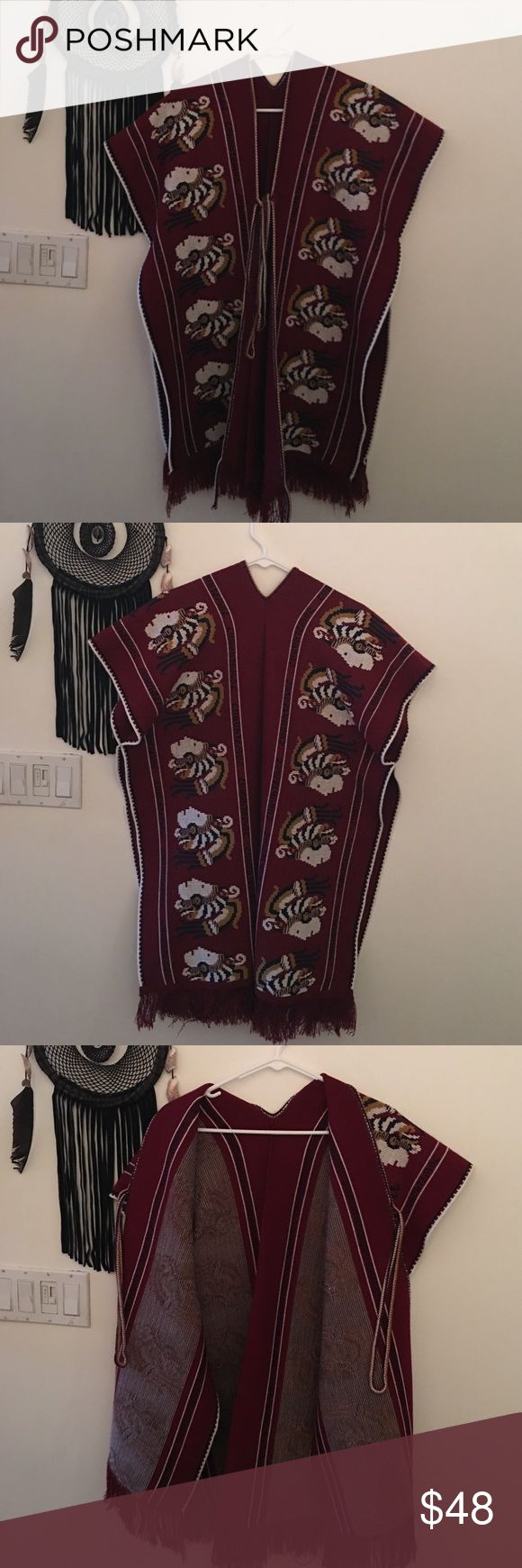 Native Poncho🌵🏹 This piece has Chiefs all over it, it's incredible! I wasn't going to part with it, but I don't wear it. This is in incredible condition as you can see from photos. Best fits a small or medium. It's not supposed to be tight, it's supposed to fit loosely over whatever you might want to wear it over. I think it would look grand with some bell bottoms, or a long tight maxi dress with ankle boots. It's so good. 👅 Vintage Sweaters Shrugs & Ponchos