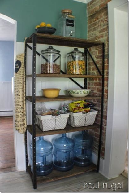 This shelf!!! Definitely rustic/industrial, yet clean lines make it modern and lovely at the same time!! :)