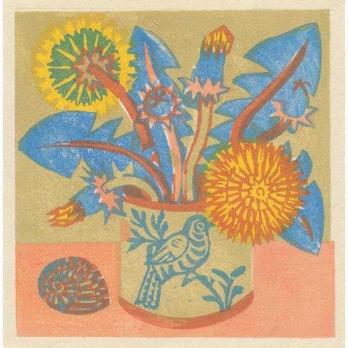 """Dandelions"" by Matt Underwood (woodblock print)"
