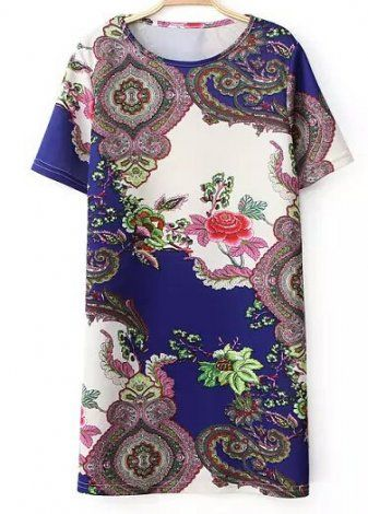 EARLY AUTUMN NEW ARRIVAL FASHION LADIES' ORIENTAL TEMPERAMENT PRINTED O-NECK SHORT-SLEEVED SHIFT DRESS ST761