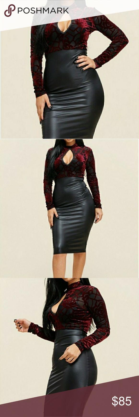Long Sleeve Mock BurnOut Velvet Bodice Dress Boutique 13