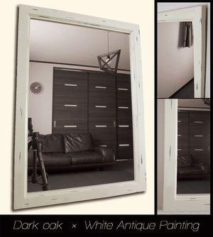 アンティーク塗装の鏡ミラー