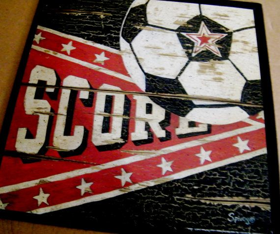 Wood SOCCER Score Ball Sports Art Wall Room Man Cave Retro Vintage Primitive Sign on Etsy, $9.99