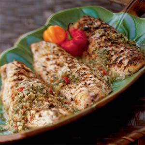 French West Indian Grilled Snapper: The marinade features the four essential seasonings of the French West Indies: lime juice, garlic, fresh thyme, and Scotch bonnet chiles. This recipe calls for snapper, but any firm white fish will work.