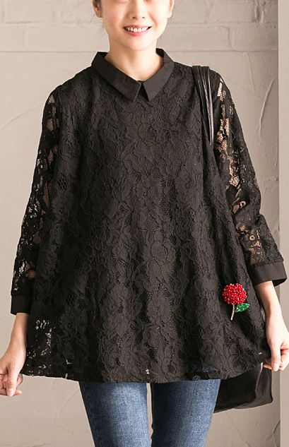 1625e6b2d55ebb stylish black natural cotton traveling clothing casual long sleeve lace  oversize cotton tops