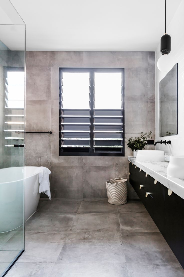 Australian bathroom ideas - Family Bathroom From Contemporary New Build Brisbane By Sutcom Constructions Photography Maree Homer