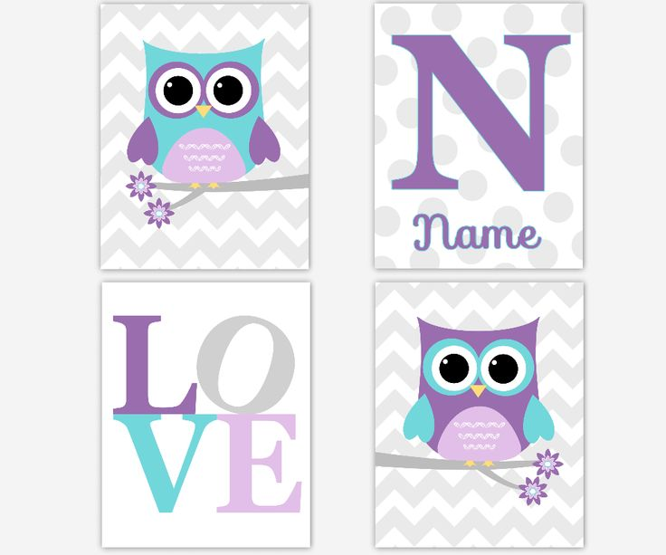 Personalized - Baby Nursery Canvas Wall Art - Chevron Lavender Purple Teal Gray Owl Love - Set of 4 Canvas