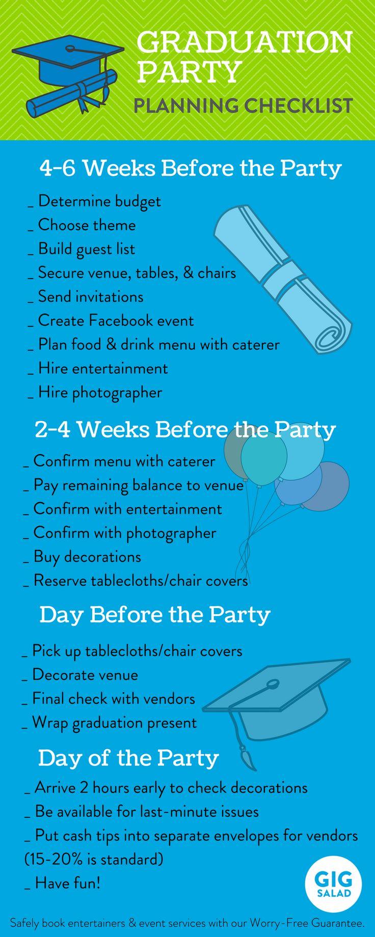 Planning a party for your favorite grad? This graduation party checklist is perfect!  Lista de preparativos para la graduación...