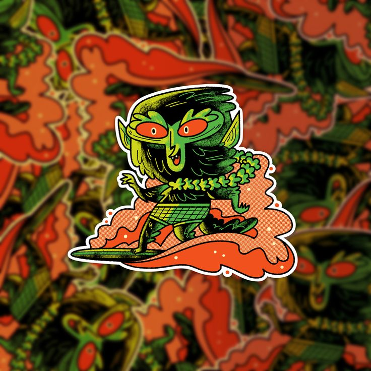 Surfing werewolf sticker for slaptastick andrew kolb