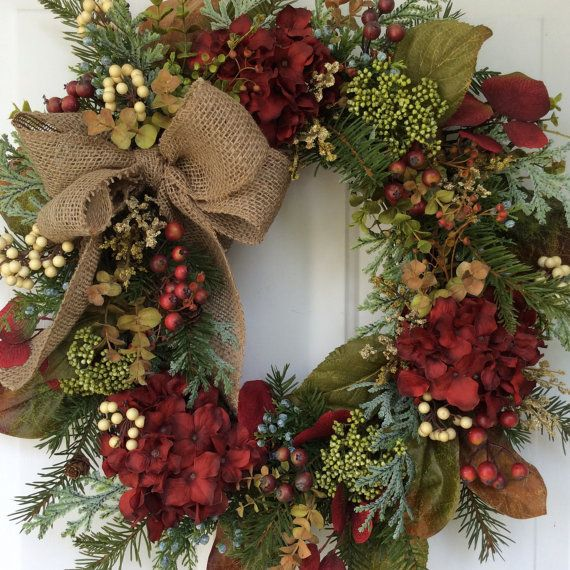 Fall Wreath-Winter Wreath-Fall Decor-Hydrangea Wreath-Christmas Wreath-All Season Wreath-Woodland Wreath-Wreath for Door-Evergreen Wreath I love making wreaths that transend the seasons, making them perfect for decorating many months of the year. This wreath is a prime example: realistic Douglas fir boughs mix with fall toned magnolia leaves, deep red aspen foliage and seeded eucalyptus to form a natural and woodsy look, Frosty sage green cedar and blue seeded juniper add a magical winter…
