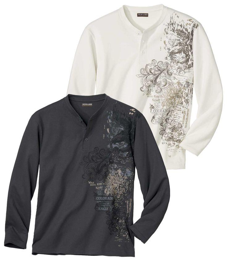 Lot de 2 Tee-Shirts Esprit Pionnier : En solo ou sous une surchemise, vous profiterez de la douceur et du confort du jersey (180 g/m² env.) de ce duo arborant une superbe sérigraphie sur le côté. Coupe soignée : col grand-père en côtes avec patte 3 boutons, finitions doubles surpiqûres sur les manches longues et le bas. 100 % coton. Hauteur dos : 74 cm env. pour la taille L. Lavage en machine à 30°. Repassage sur l'envers pour la sérigraphie. Coloris : gris et blanc cassé - Réf. : T4002 50