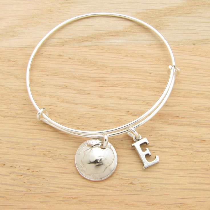 For 40th: 1977 US Dime Coin Bangle Wire Bracelet with optional letter charm 40th Birthday 40th Anniversary Gift