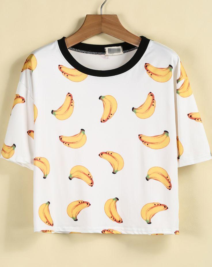 White Short Sleeve Bananas Print T-Shirt - Sheinside.com