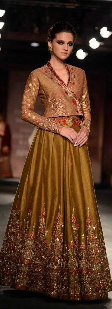 Mustard lehenga and blouse by Anju Modi for Delhi Couture week 2014