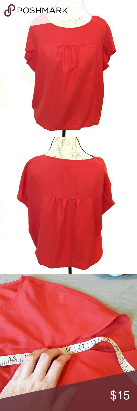 loft ⏺ slouchy top Like new! Beautiful red/orange top by LOFT. Has elastic at the hem. Small pleats in front and back.  Bust and length Measurements provided in pics above. From a smoke and pet free home. Fast shipping! Office - Vacation - Wedding - Fun - Dress up - date night - cruise - spring - summer *IF YOU LIKE MY ITEMS, please FOLLOW ME to see NEW ARRIVALS that are added weekly! * LOFT Tops