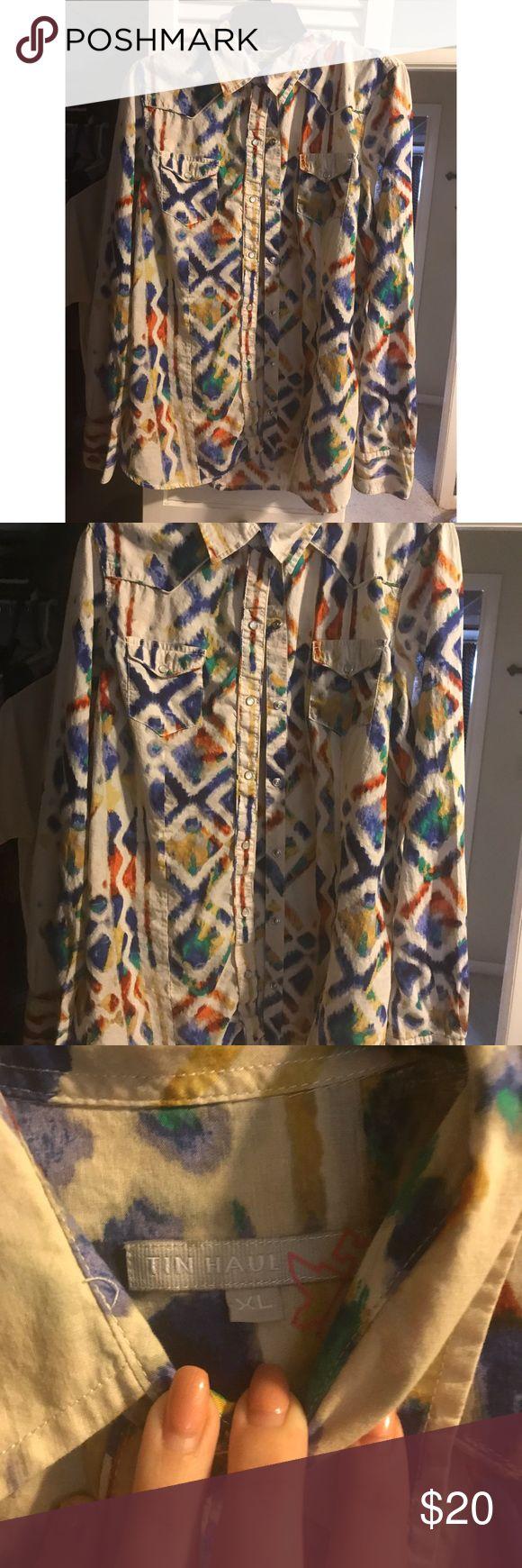 Long sleeve tin haul  western button up Long sleeve tin haul  western button up, worn once tin haul Tops Button Down Shirts