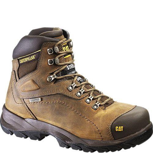 Men's Work Boots For Sale Cat Footwear Diagnostic Hi Waterproof Dark Beige Leather Men 73687 Everyday Low Price