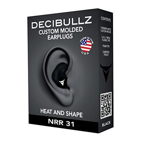 Decibullz- Custom Molded Earplugs 31dB Highest NRR Comfortable Hearing Protection for Shooting Travel Sleeping Swimming Work and Concerts (Black)