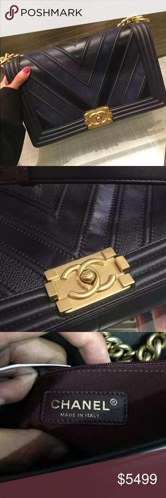Auth Chanel 2016 Boy New Medium Chevron Flap Bag 100% GUARANTEED AUTHENTIC OR 10X YOUR MONEY BACK!!  PHOTOS ARE TAKEN OF THE EXACT SAME ITEM YOU WILL RECEIVE! WHAT YOU SEE IS WHAT YOU GET*** PLEASE VISIT OUR WEBSITE AT WWW.AUTHENTICLUXURIESTW.COM or email me at authenticluxuries11@gmail.com for more detailed photos =). CHANEL Bags Shoulder Bags