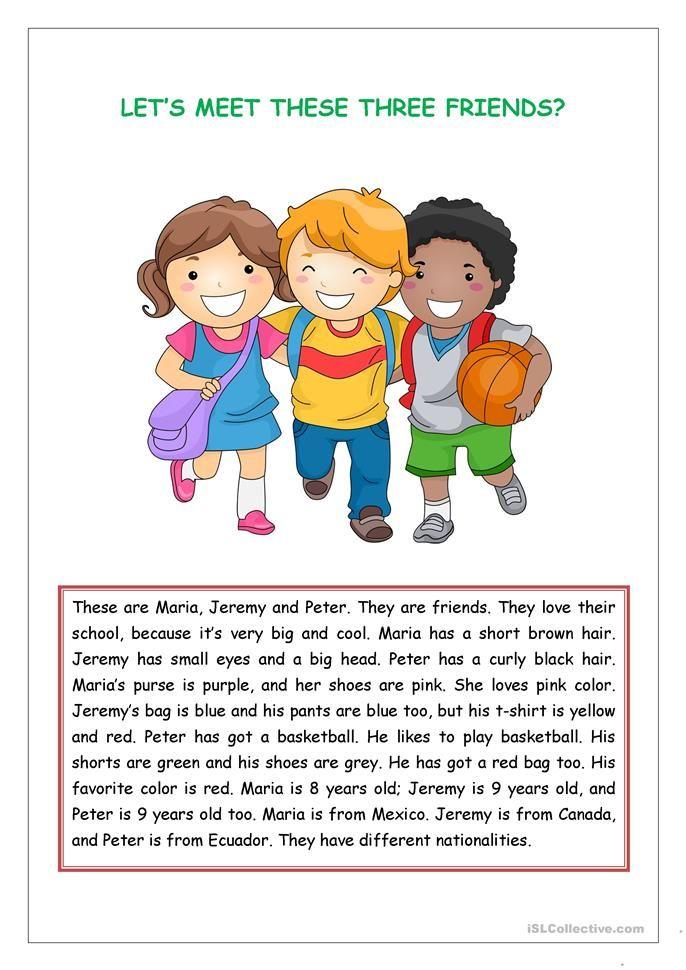 Reading comprehension for kids   Eng language   Pinterest