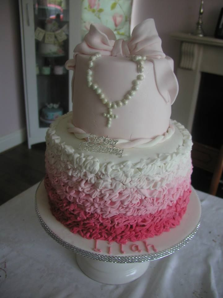 pink ombre christening cake with ruffles