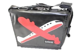 One of the totes from Areoplane line, this is the T3 Hip City Messenger Areoplane- $155 (http://www.totembags.ca/t3-messenger-aeroplane/)
