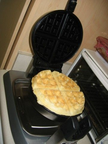 Best waffle recipe, hands down.  Follow directions for prefect, light, crisp, not-too-sweet Belgium Goodnight Waffles