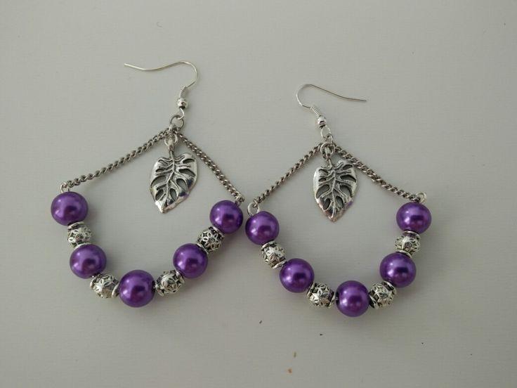 Boucles d'oreille perles violettes et argentées, feuille argentée #diy #french #earring