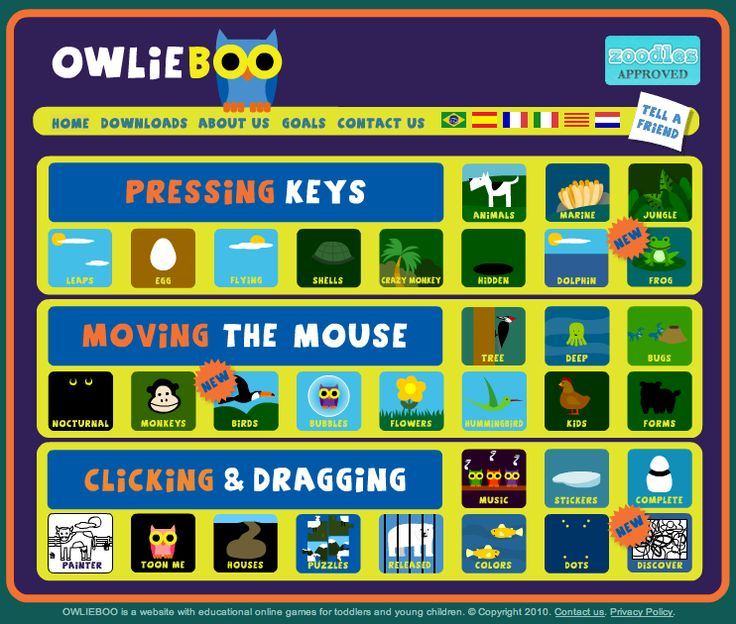 Not an app...FREE online educational games that help kids work on pressing the keys, moving the mouse, and clicking and dragging - www.owlieboo.com - Educational Games that