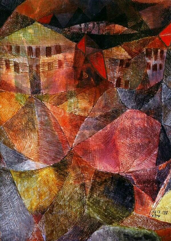 Paul Klee: Das Hotel (The Hotel), 1913. Oil, watercolour, pen and ink on board…