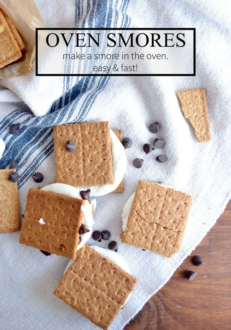 Make smores in the oven fast and easy. Perfect for those winter months!  Oven smores are just about as tasty as the real thing, too!